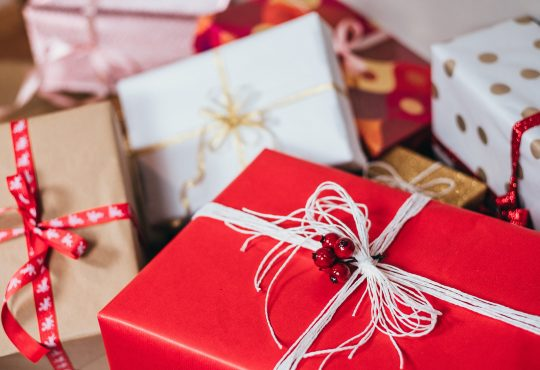 red and white Christmas gifts